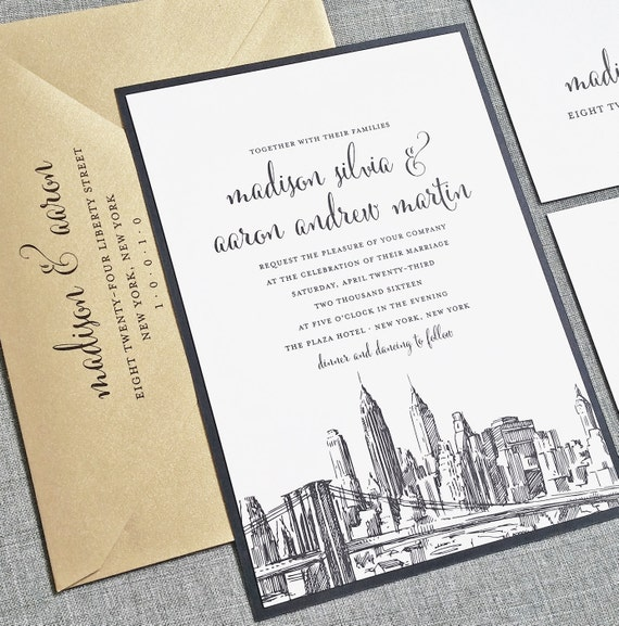 Madison New York Skyline Wedding Invitation Sample  {Description} Perfect for a modern and chic city wedding