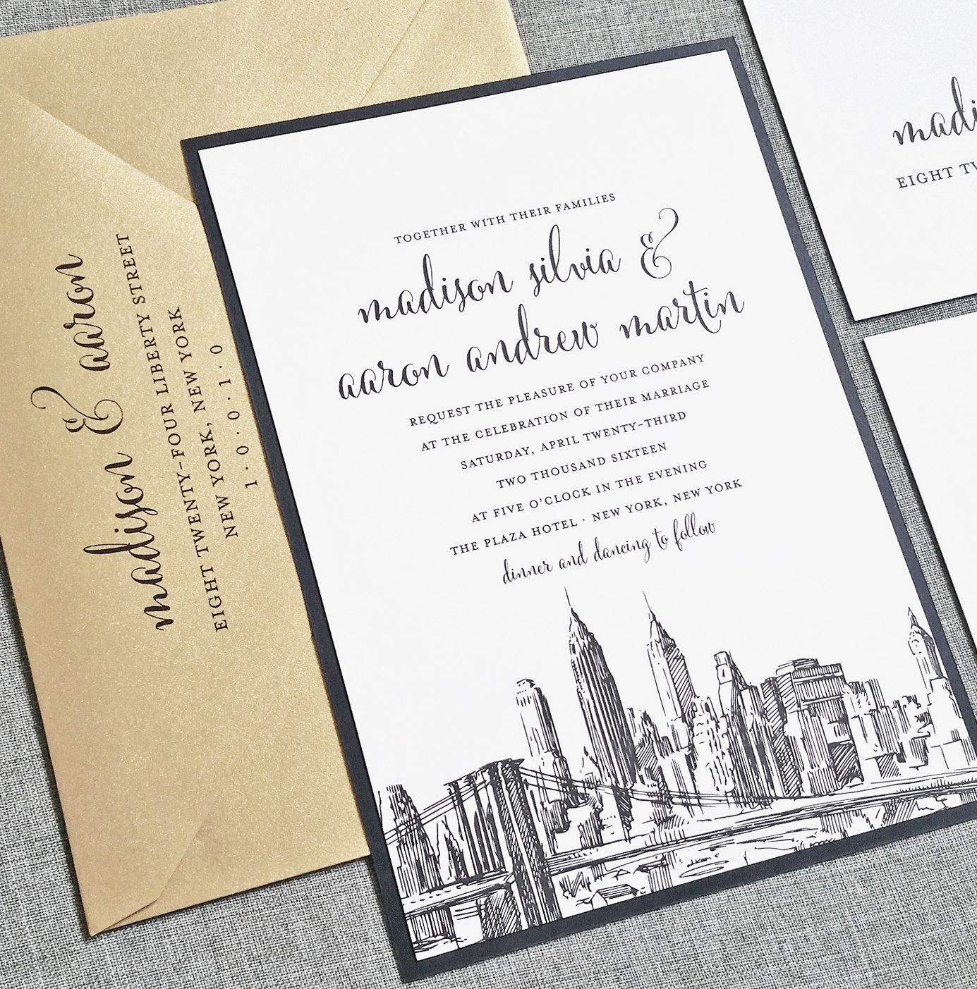 Madison New York Skyline Wedding Invitation Sample Boston