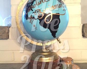 Personalized Chalkboard World Globe // Wanderlust Globe // You Pick // Hand Painted Nursery // Wedding Decor // New Baby