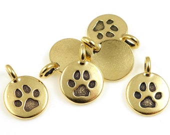 Tiny Gold Pendant Antique Gold Charm TierraCast PAW Charm from the You Too Collection - Animal Pet Lover Gold Charm   P1263