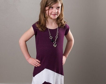 Chevron Maxi Dress PDF Sewing Pattern, girls age 7-12