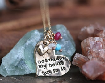 adoption necklace with birthstones.............hand cast fine Bronze adoption quote mothers necklace