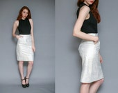 Vintage 80s High Waisted White and Silver Metallic Leather Midi Pencil Skirt