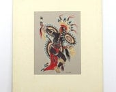 Vintage Woody Crumbo Painting, Scalp Dancer, Gouache on Paper