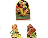 1920s Mechanical Valentines Greeting Card Lot, Set of 3 Antique Romantic Cards