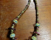 Earthy Rustic Lampwork Necklace, Spiny Oyster, Czech Glass