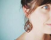 Wooden Symmetrical Earrings, Laser Cut Earrings