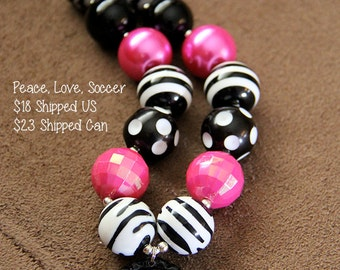 SALE 25% off! Peace Love Soccer Chunky Bubblegum Necklace RTS