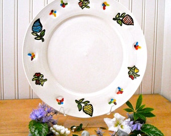 Flower Garden Dinner Plate - Handmade Hand Painted Wheel Thrown Rustic Organic Stamped Butterfly Decorative Ceramic, Pottery Serving Dish