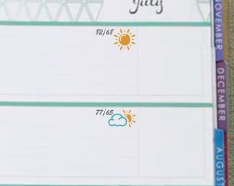 Weather Trackers Sticker Printable - Instant Download - Planner Stickers
