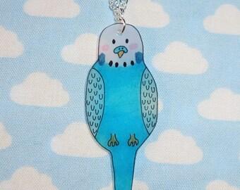 Tweet Tweet How Sweet Aqua Budgie Necklace