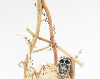 Pygmy Headhunter Chair, Primitive Mini Twig Chair, Tropical Tiki, Fae Furniture, Rustic Miniature Polynesian Chair. Halloween Decoration