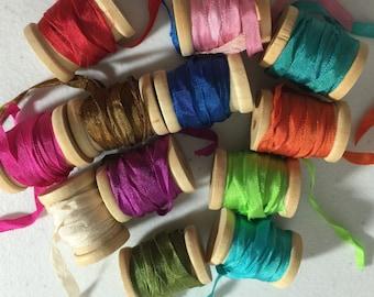 Silk Ribbon, hand dyed silk ribbon, woven silk ribbon, 7mm silk ribbon