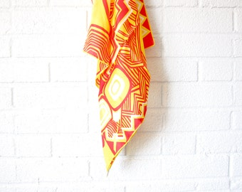 Vintage Abstract Yellow Silk Scarf - Red and Yellow Geometric Mod Square Scarf - Sally Gee - Made in Japan - Bold Bright Summer Scarf
