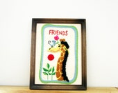 vintage 70s Colorful Giraffe & Mouse with Flower Crewel Embroidery Wall Hanging // Groovy Retro Nursery Childrens Room Decor