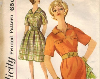 1960s Simplicity 4025 Vintage Sewing Pattern Misses Slim Dress, Full Skirted Dress Size 12 Bust 32