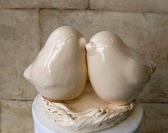 Ivory Love Bird Cake Topper