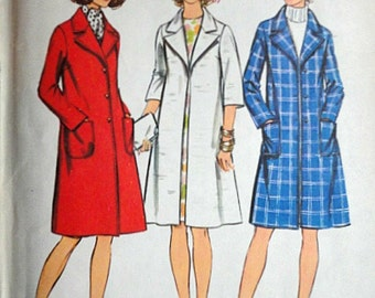 Vintage 70's Simplicity 5526 Look Slimmer Sewing Pattern, Misses Coat, Size 18, 40 Bust, Uncut
