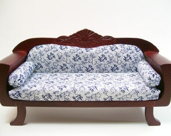 Blue Floral Couch Upholstered Mahogany Carved 1:12 Dollhouse Miniature Artisan
