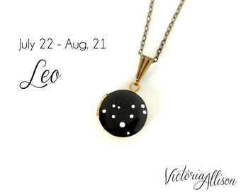 Leo Star Sign, Leo Zodiac Constellation Necklace on Vintage Tiny Locket - Hand Painted -  August July Birthday, Leo gift, leo the Lion