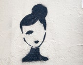 "Paris Photography, ""Graffiti Woman"" Large Art Print, Modern Wall Art, Minimalist Fine Art Photography Paris Print, Girlfriend Gift for Her"