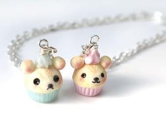Kawaii Bear Cupcake, Polymer Clay Jewelry, Miniature Food Jewelry