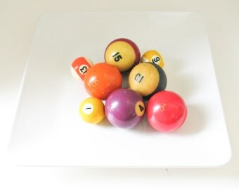 Set of Eight Vintage Cue Balls, Photo Props, Vase Filler, Bowl Filler, door handles