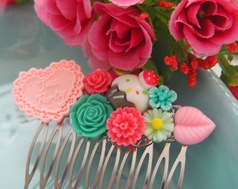 Cupcake Tea Party Cluster Hair Comb