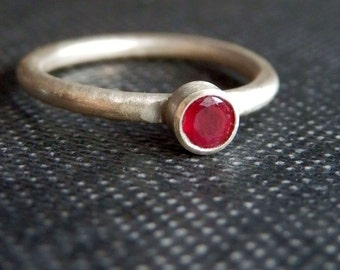 Dainty ruby ring / made to order ruby ring / ruby stacking ring / July birthstone jewelry / natural ruby ring / ruby engagement ring