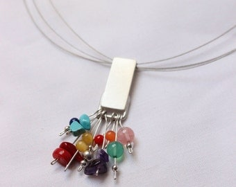 Multicolor pendant - Sterling silver  and colorful gems - Perfect for Spring - Summer - Autumn - Winter