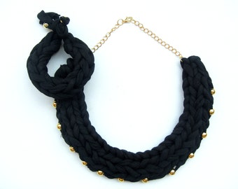 Black Cotton Necklace. Black Statement Necklace. Womans Christmas Gift. Black Braided Necklace. Knitted Necklace. Black and Gold Necklace