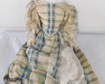 Antique Victorian 1860s High Brow China Head Doll in Original Clothing Large 24 Inch