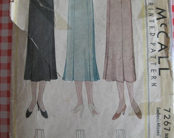 "1933 Skirt - 26"" Waist - McCall 7267 - Vintage 1930s Sewing Pattern"