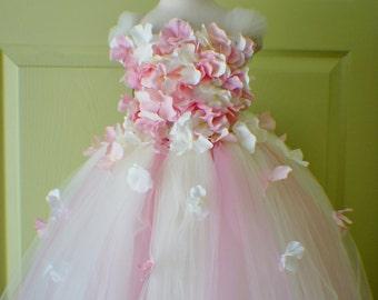 Flower Girl Dress, Photo Prop, Flower Girl Tutu Dress, Light Pink and Ivory, Flower Top, Tutu Dress, Scascading Flowers