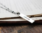 sterling silver mini message tag necklace ~ Unplug ~ Ready to Ship