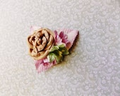 Malt Pistachio Blush Lilac Pink Roses Lilies Handmade Millinery Corsage baby kids hair bow headband ooak clip supply Vintage Style Flowers