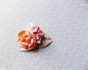Apricot Blush Lilac Coral Ivory Roses Lilies Handmade Millinery Corsage baby kids hair bow headband ooak clip supply Vintage Style Flowers