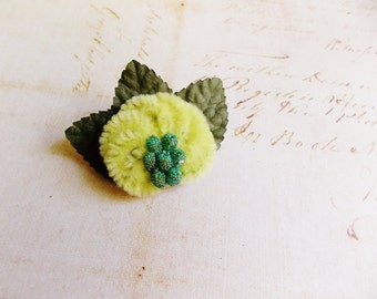 Pastel Yellow Moss Aqua Millinery Flower Brooch ~Velveteen Chenille Rosette pin glass beaded stamens velvet wedding accessory Victorian trim