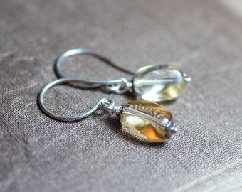 Citrine Earrings Antiqued Silver Gemstone Nugget Light Yellow Earrings