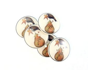 "5 Primitive Pear and Crow Decorative Novelty Buttons.  Craft Sewing Buttons.  3/4"" or 20 mm. Washable Dryer Safe."