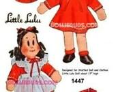 """Vintage 1940's 17"""" Little Lulu Stuffed Rag Doll Pattern 1447"""