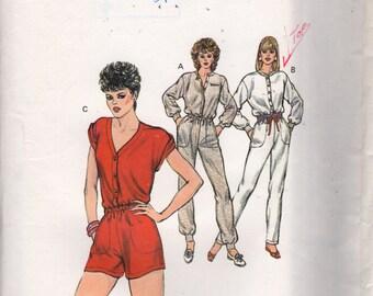 Kwik Sew 1331 1980s Misses Button Snap Front Jumpsuit Romper Pattern Womens Vintage Sewing Pattern Size XS S M L Bust 31 - 41 UNCUT