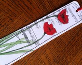 Watercolor Bookmark Red Poppies with Musical Background