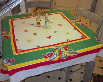 Vintage Startex Tablecloth Mexican Pottery and Stripes