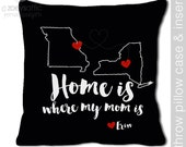 Mom gift - home is where mom is personalized DARK fabric throw pillow - adorable Mother's Day gift