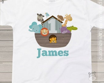 Birthday shirt any age Noah's Ark animal theme birthday party shirt - perfectly adorable