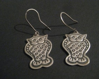 Vintage Sterling Owl Earrings