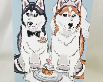 Wedding Huskies - Greeting Card