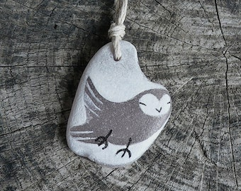 Healing Shard Necklace - Beach Glass Owl - Softly Lilac - Flying Owl