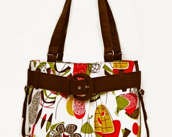 Doo Wop Purse in Cream and Chocolate Brown With Belt and Buckle